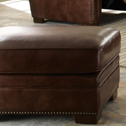 Craftmaster L154350      Leather Ottoman with Nailhead Studs