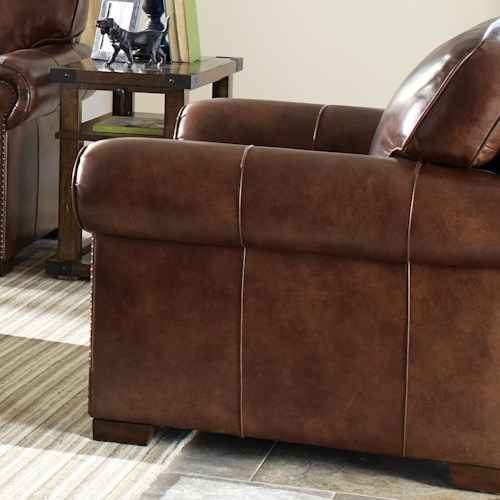 Craftmaster L154350      Leather Chair with Rolled Arms and Nailheads