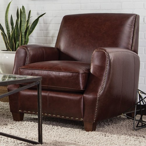 Craftmaster L159850      Small-Scale Contemporary Leather Chair with Nailhead Trim