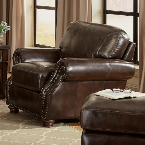 Craftmaster L161100 Traditional Chair and Ottoman with Rolled Arms