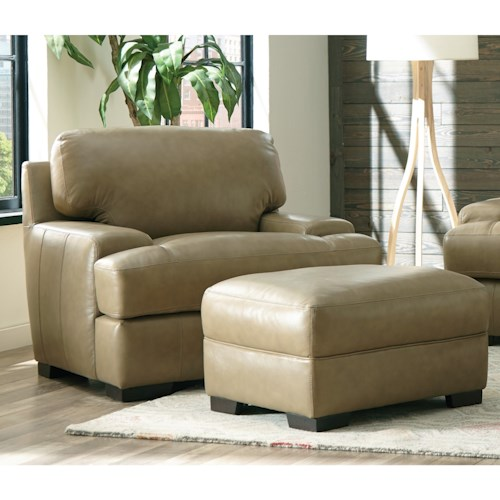 Craftmaster L163200 Contemporary Chair and Ottoman with Track Arms