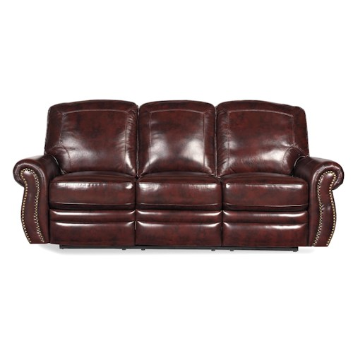 Craftmaster L3112 Traditional Reclining Sofa with Rolled Arms and Nailhead Studs