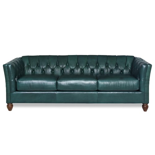 Craftmaster Chelsea Transitional Tuxedo Sofa with Classic Button Tufting and Turned Wood Feet