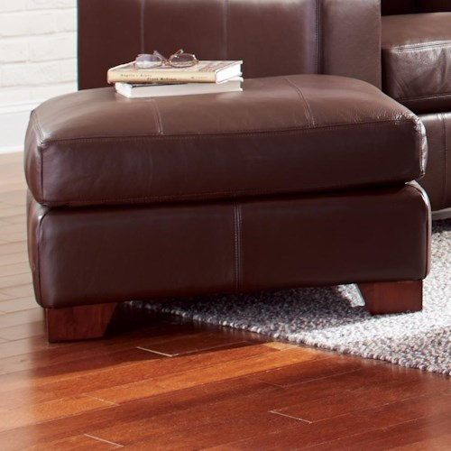 Craftmaster Axis Rectangular Leather Ottoman