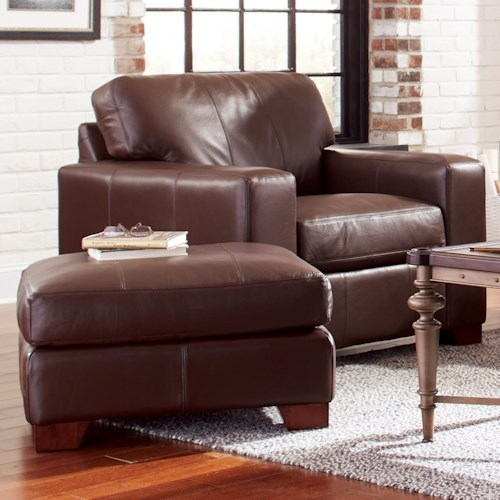 Craftmaster Axis Modern Leather Chair & Ottoman