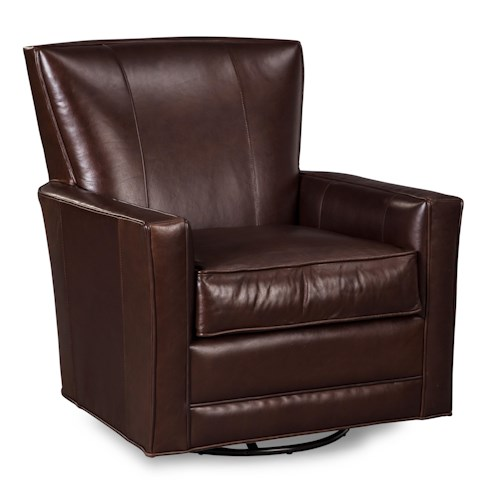 Craftmaster Leather Accents Leather Glider Rocker