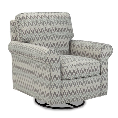 Craftmaster Swivel Chairs Swivel Glider Chair with Rolled Arms