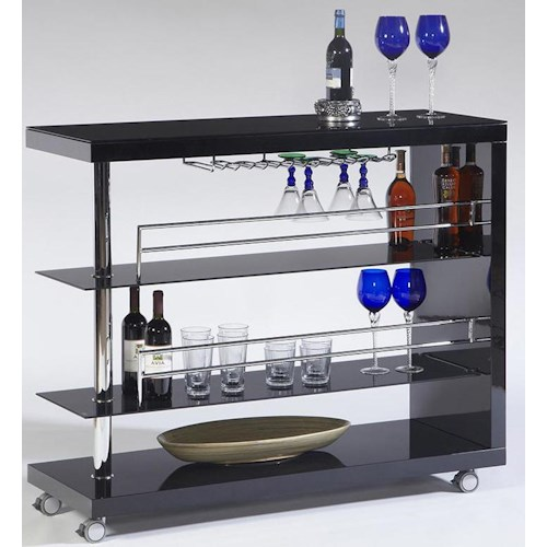 Cramco, Inc Bolero Contemporary Bar Cart w/ Stem Glass