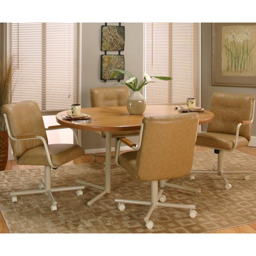Cramco, Inc Cramco Motion - Carter  Casual Rectangular Dinner Table w/ 4 Swivel Chairs