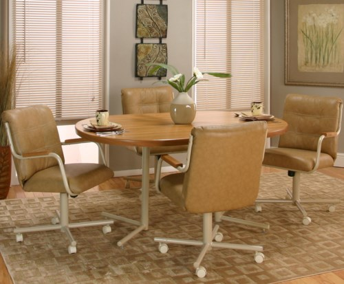 Dining room sets with chairs on casters