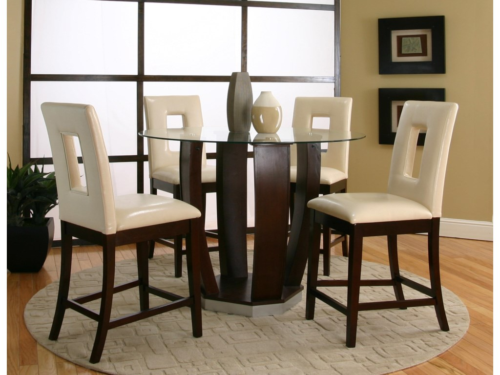 4 Cut Out Back Stools Shown with Pub Table