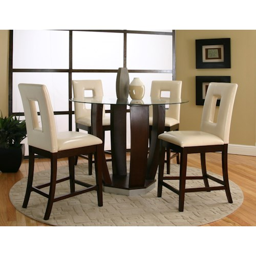 Cramco, Inc Contemporary Design - Emerson Tempered Glass Top Pub Table Set