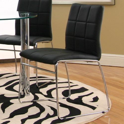 Cramco, Inc Contemporary Design - Napoli Black Polyurethane Sled Side Chair