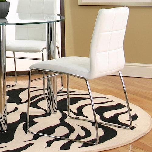 Cramco, Inc Contemporary Design - Napoli White Polyurethane Sled Side Chair