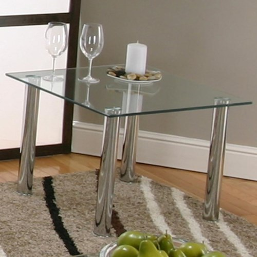 Cramco, Inc Contemporary Design - Napoli Square End Table w/ Glass Top