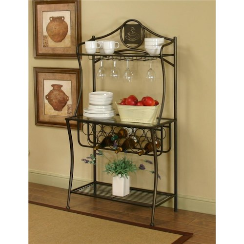 Cramco, Inc Cramco Trading Company - Maxwell Antique Bronze/Glass Baker's Rack
