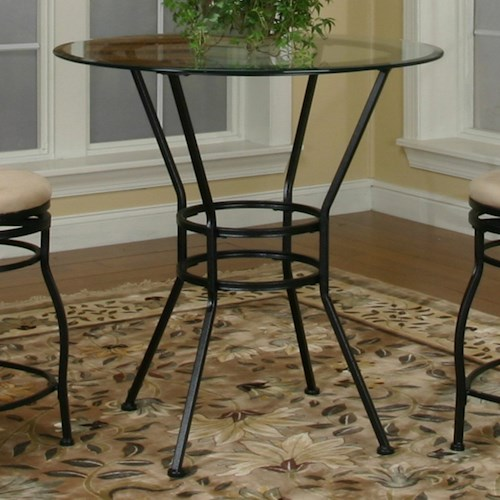 Cramco, Inc Cramco Trading Company - Starling Round Glass Pub Table w/ Textured Black Pedestal Base