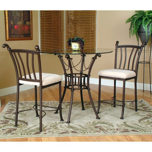 Cramco, Inc Denali 3 Piece Counter Height Glass Table and Chair