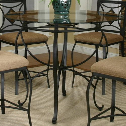 Cramco, Inc Cramco Trading Company - Glendale  Round Metal Table w/Glass Top