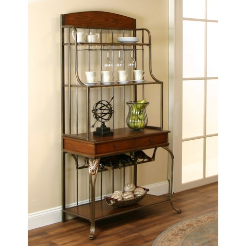Cramco, Inc Harlow Metal and Wood Golden Bronze/Ash Veneer Baker's Rack