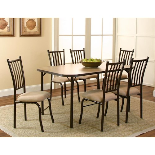 Cramco, Inc Jacey 7 Piece Rectangular Clipped Corner Beige Linen Laminate Table and Chairs Set