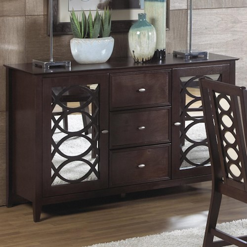 Cramco, Inc Jasmyn Dining Server  w/ Mirror Door Fronts
