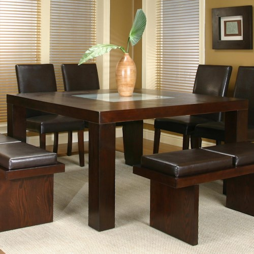 Cramco, Inc Contemporary Design - Kemper Square Dining Table with Frosted Glass Insert