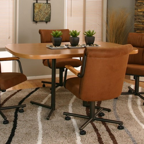 Cramco, Inc Landon Bow-End Sunset Oak Laminate Table Top and Espresso Base