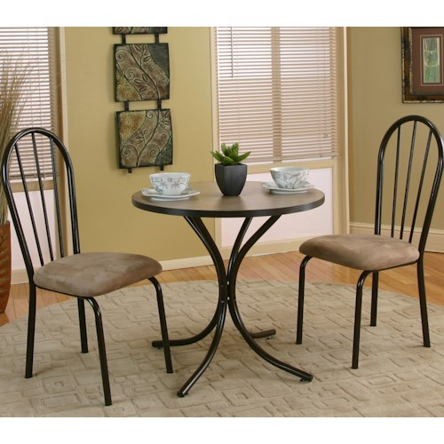 Cramco, Inc Linen 3 Piece Beige Round Table with Java/Cappacino Microsuede Side Chairs