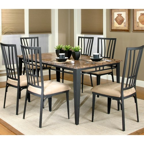 Cramco, Inc Cramco Trading Company - Lingo Rectangular Table w/ 7 Side Chairs