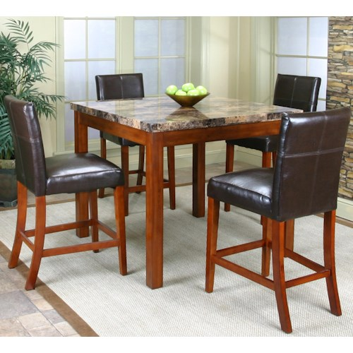 Cramco, Inc Cramco Trading Company - Mayfair  Counter Height Table w/ Faux Marble Top and 4 Stools