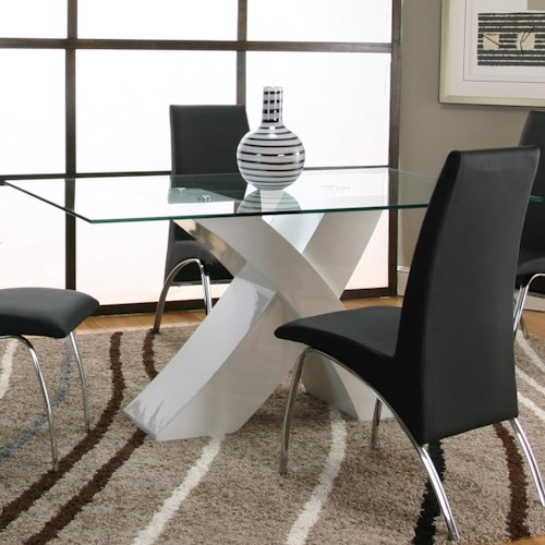 Cramco, Inc Mensa Rectangular Tempered Glass Table Top with Polyester/Polyurethane White Base
