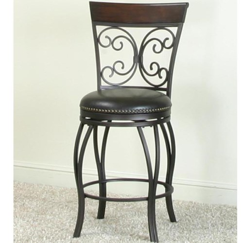 Cramco, Inc Monza Bar Swivel Stool with Nail Head Trim