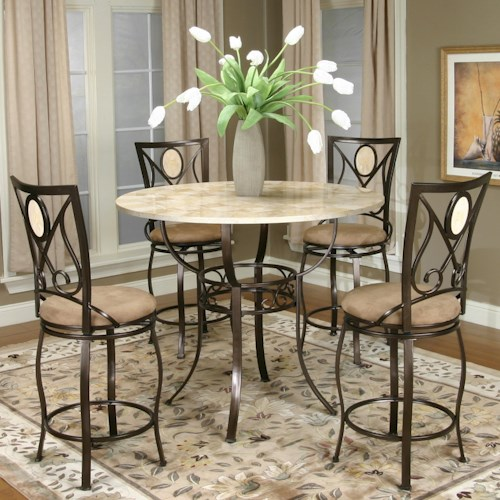 Cramco, Inc Cramco Trading Company - Nadia Five Piece Pub Table and Swivel Stool Set