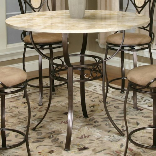 Cramco, Inc Cramco Trading Company - Nadia Bronze Counter Height Pub Table with Round Glacier Inlaid Marble Top
