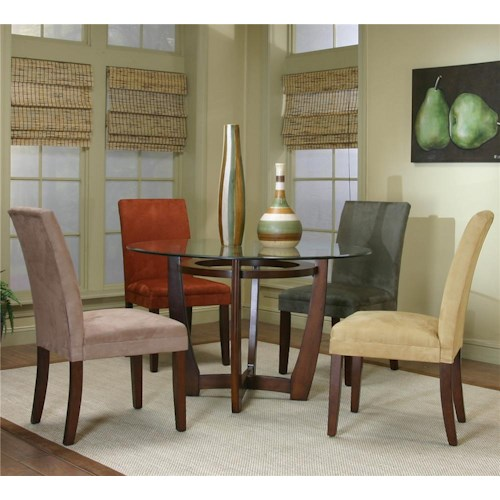 Cramco, Inc Contemporary Design - Parkwood Round Dining Table and Micro-Suede Chairs
