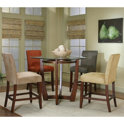 Cramco, Inc Contemporary Design - Parkwood Round Counter Height Dining Table with Micro-Suede Chair Set