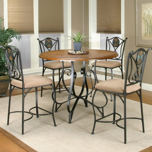 Cramco, Inc Cramco Trading Company - Ravine Round Counter Height Table w/ 4 Bar Stools