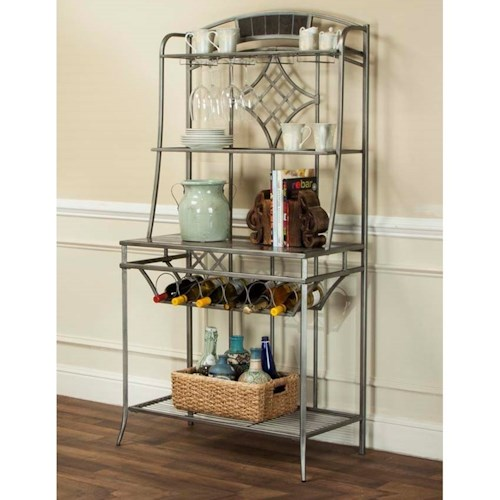 Cramco, Inc Triumph Pewter and Marble Baker's Rack with Wine Storage and Open Shelves