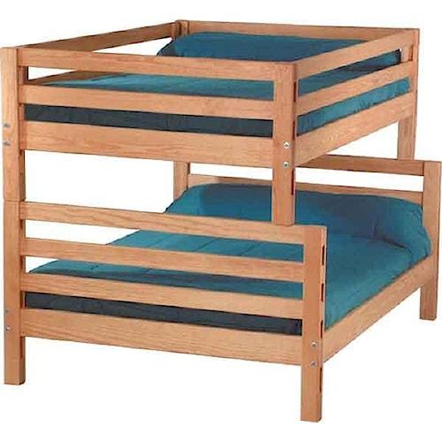 Crate Designs Pine Bedroom Casual Double Over Queen Bunk Bed Jordan 39 S Home Furnishings Bunk