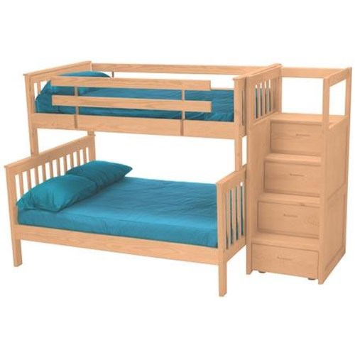 Crate Designs Pine Bedroom Mission Style Twin Over Double Bunk Bed With Storage Staircase