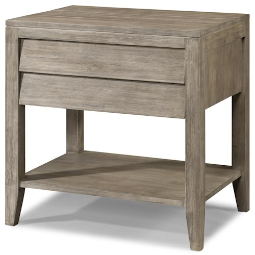 Cresent Fine Furniture Corliss Landing Powered Nightstand with Shutter Drawer