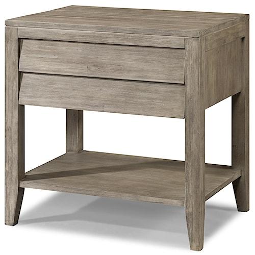 Cresent Fine Furniture Corliss Landing Powered Nightstand with Shutter Drawer