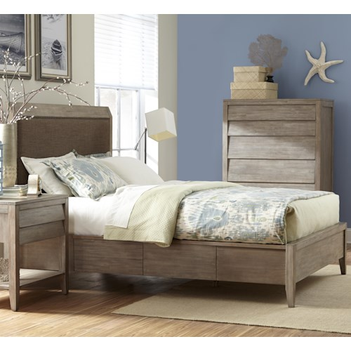 Cresent Fine Furniture Corliss Landing Queen Upholstered Low Profile Bed