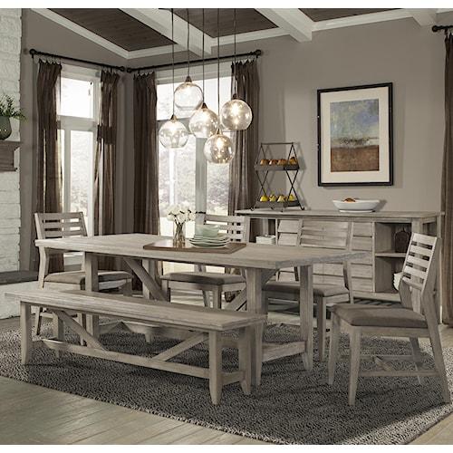 Cresent Fine Furniture Corliss Landing Table, Chair & Bench Set