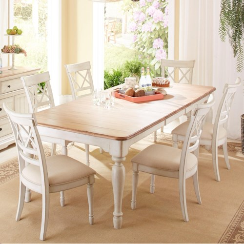 Cresent Fine Furniture Cottage 7 Piece Table with Self Storing Leaf and Double-X Back Chair Set