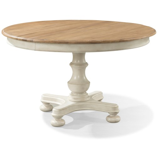 Cresent Fine Furniture Cottage Round Pedestal Table in Two Tone