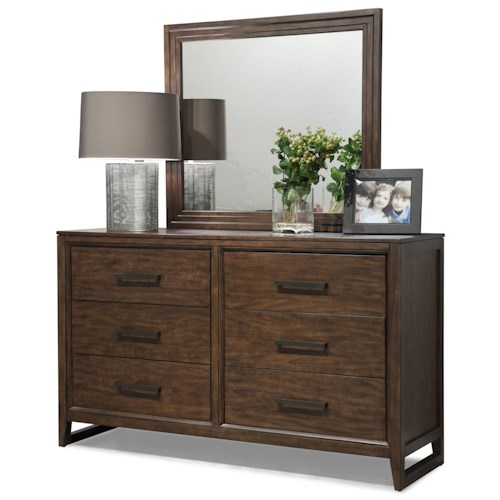 Cresent Fine Furniture Mercer Low 6 Drawer Dresser & Mirror Set