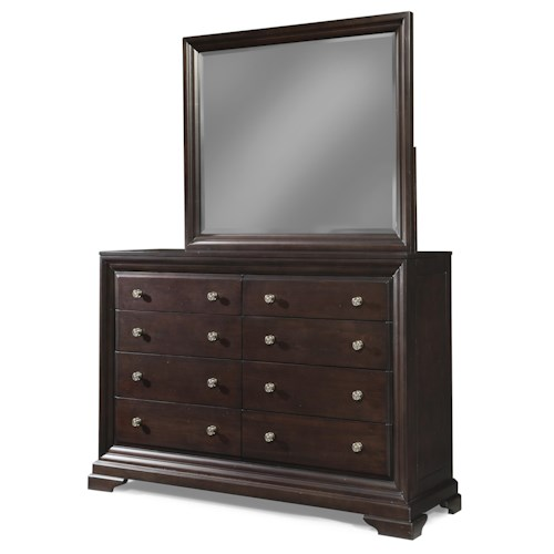 Cresent Fine Furniture Newport Large 8-Drawer Dresser & Beveled Mirror Set