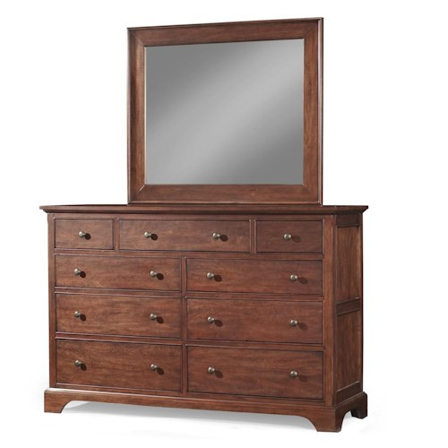 Cresent Fine Furniture Retreat Cherry Casual Cherry 9 Drawer Dresser with Landscape Mirror